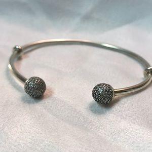 Pandora silver Pave bangle w/2 spacers